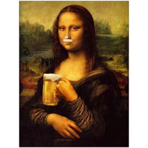 Puzzle de la Mona Lisa tomando una cerveza